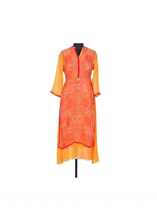 Coral floral printed kurti with contrast placket only on Kalki