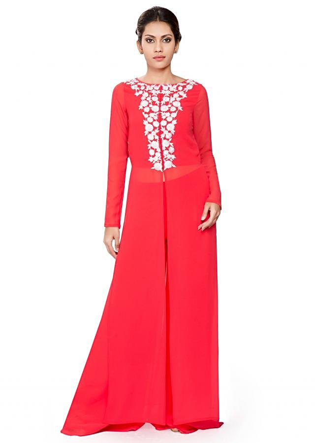 Coral front and side slit with white embroidery