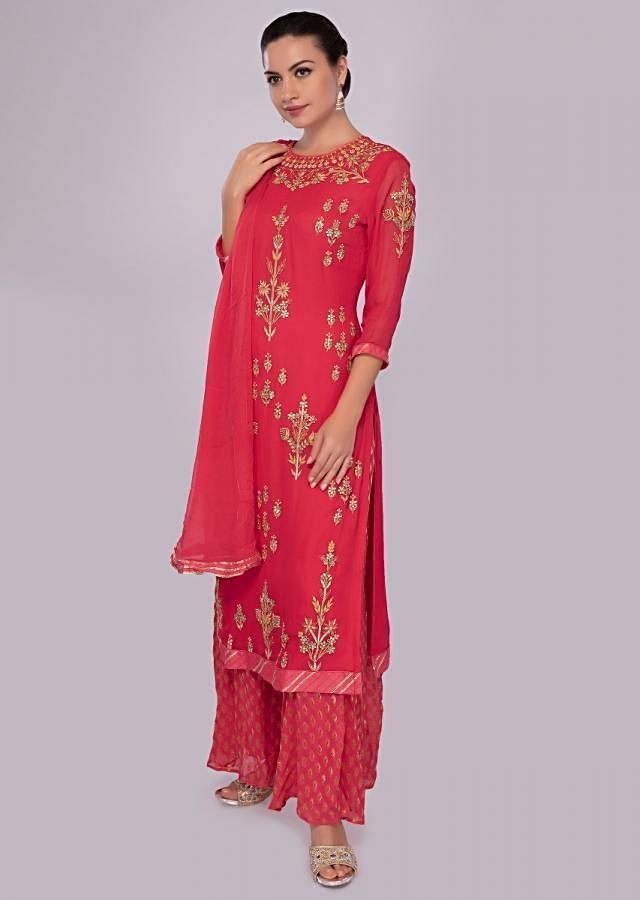 Coral Suit Set In Georgette Embroidered With Chiffon Dupatta Online - Kalki Fashion