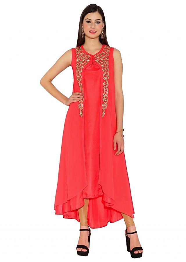Coral Georgette Kurti With Golden Thread Embroidery and Jacket Style Only On Kalki