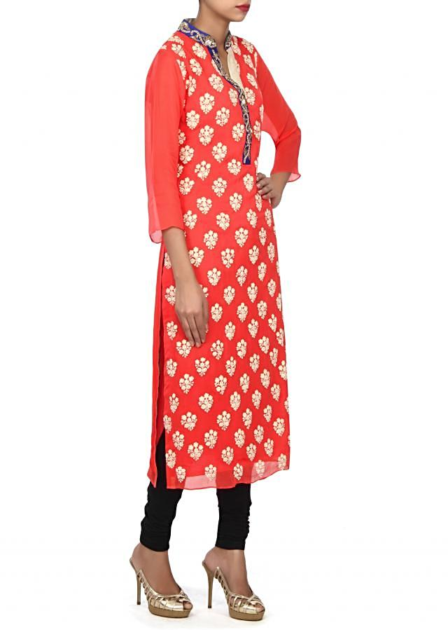 Coral kurti adorn in thread embroidery only on Kalki