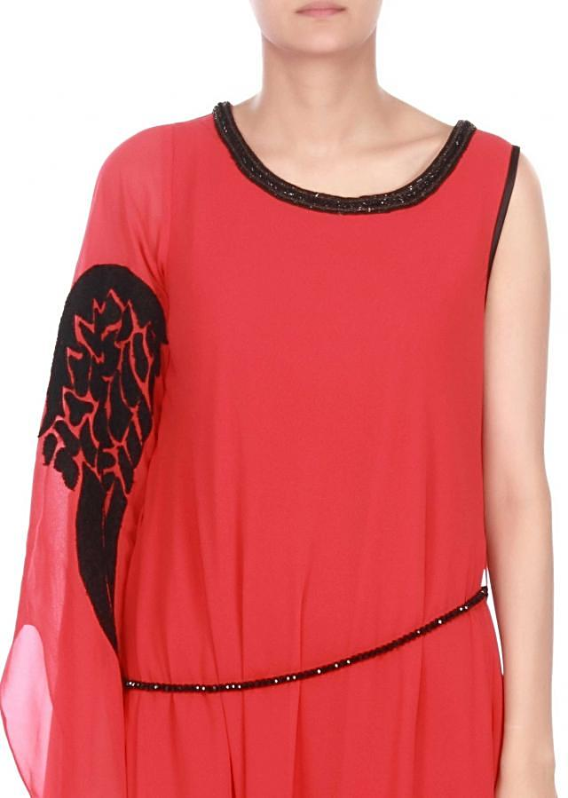Coral Kurti Enhanced In Feather Motifs Online - Kalki Fashion