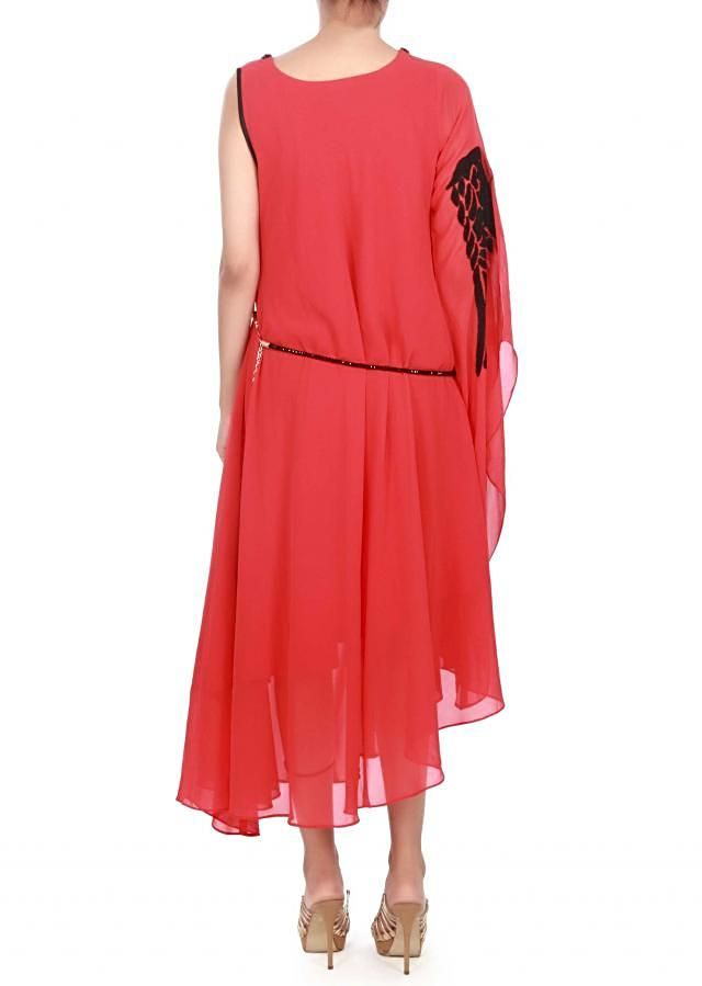 Coral kurti enhanced in feather motif only on Kalki