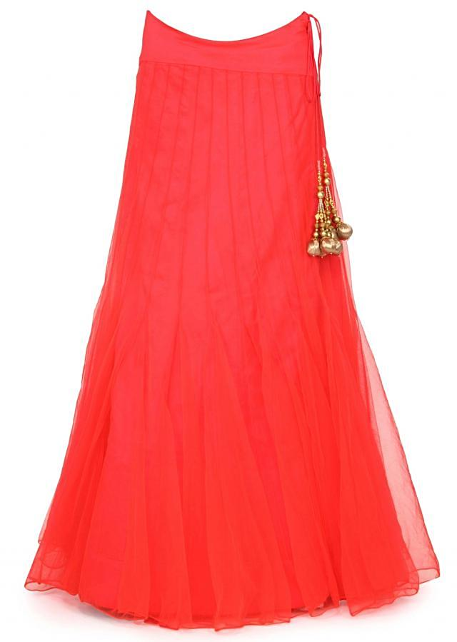 Coral lehenga matched with embroidered blouse only on Kalki