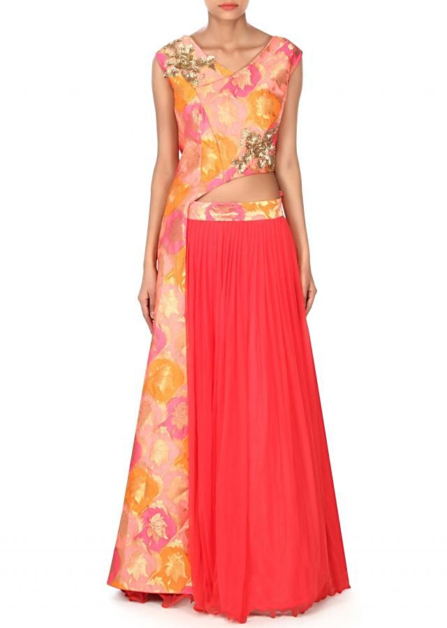 Coral lehenga with long fancy blouse in sequin embroidery only on Kalki