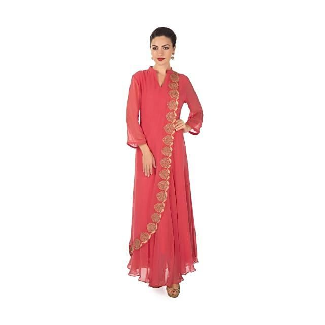 Coral ling dress with top layer highlighted in moti and zari work only on Kalki