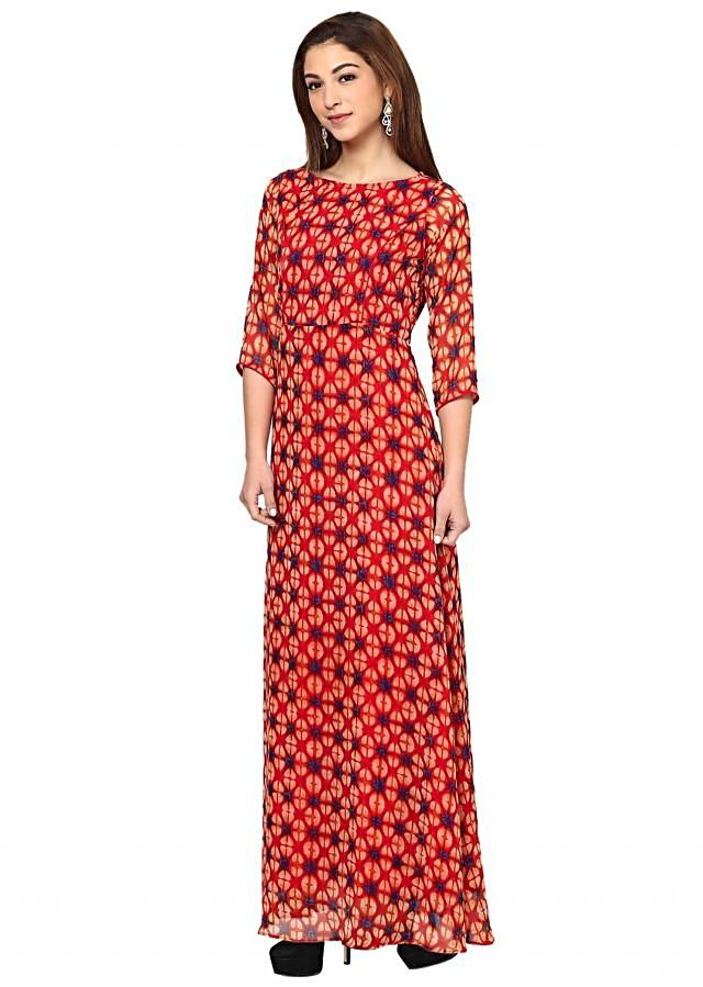 Coral Multi Printed Maxi Dress