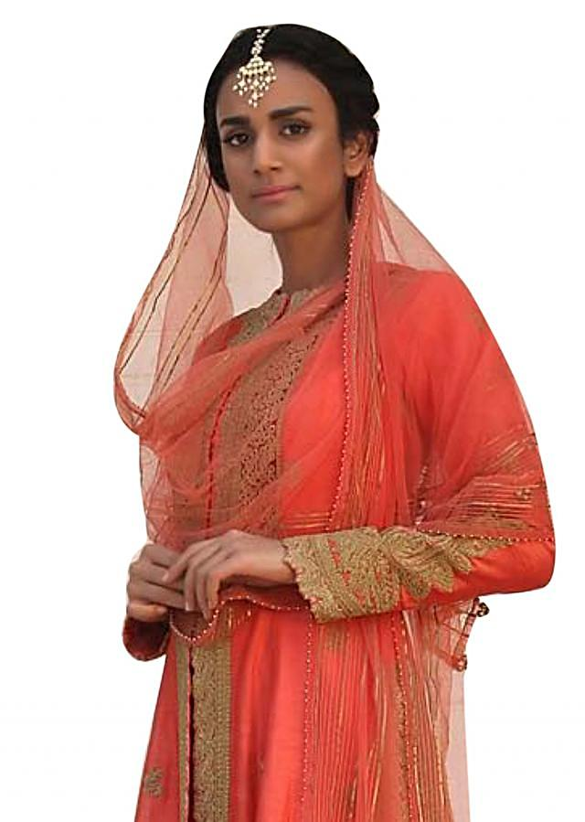 Coral orange A line embroidered suit with silk pants
