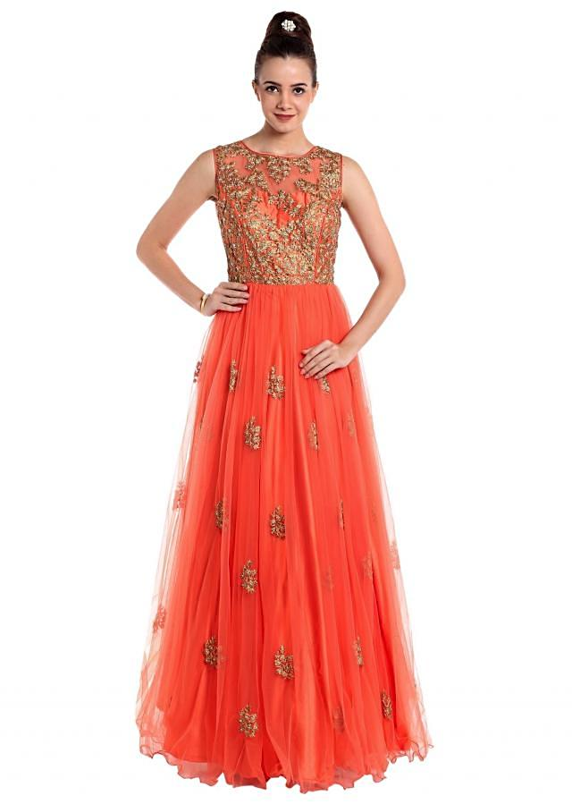 Coral orange net gown adorned with embossed zari work only on Kalki