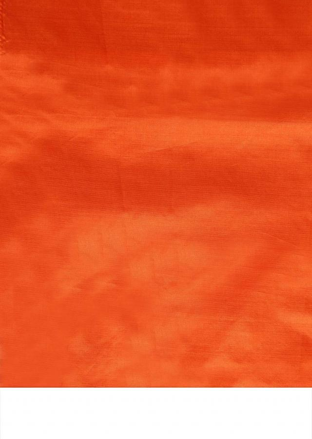 Coral orange unstitched suit embellished in gotta patti butti only on Kalki