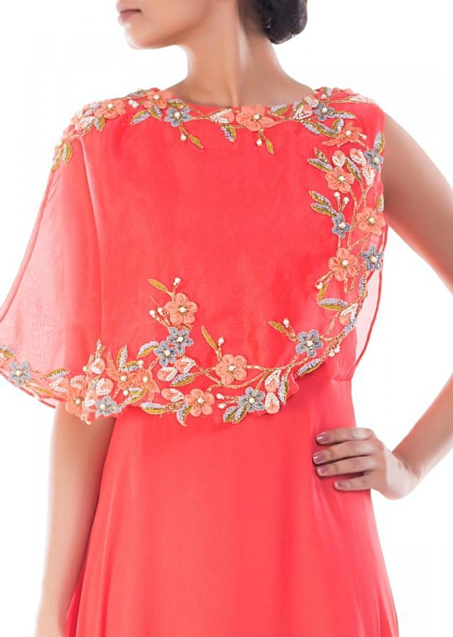 Coral Peach Cape Gown