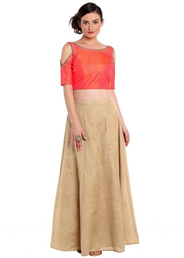 Coral peach crop top blouse in cold shoulder with gold skirt only on Kalki