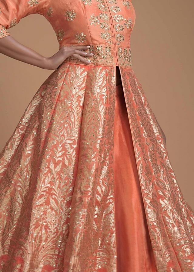 Coral Peach Jacket Lehenga In Brocade Silk With Floral And Flower Pot Motifs Online - Kalki Fashion