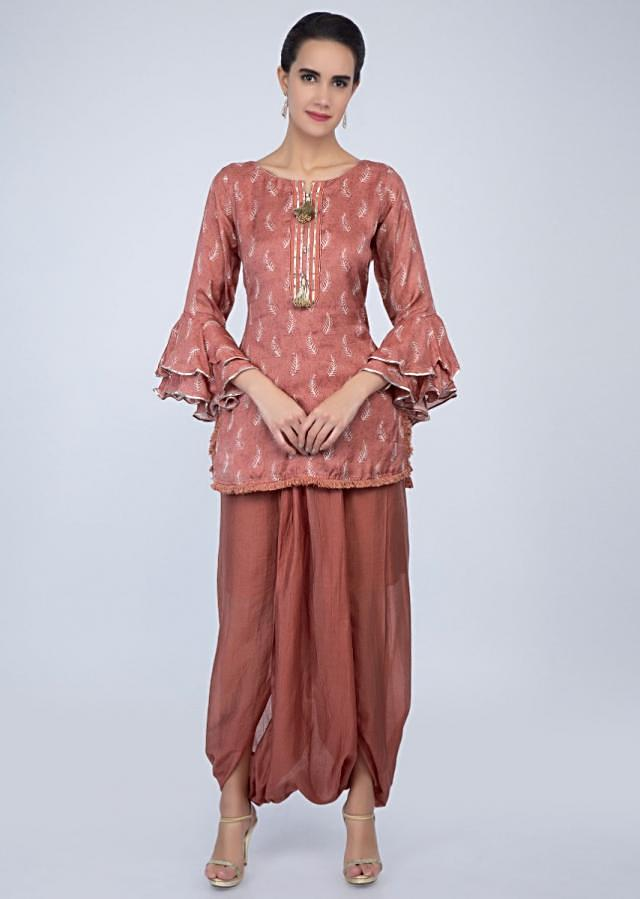 Coral Peach Top With Leaf Print And Paired With Fancy Dhoti Pant Online - Kalki Fashion