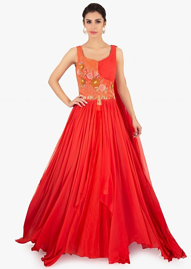 Coral Peach Skirt In Net Paired With Long Peach Georgette Top Online - Kalki Fashion