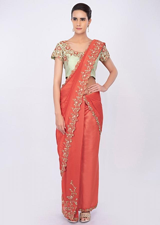 Coral Peach Two Piece Saree With Draped Pleats And Detached Pallo Online - Kalki Fashion