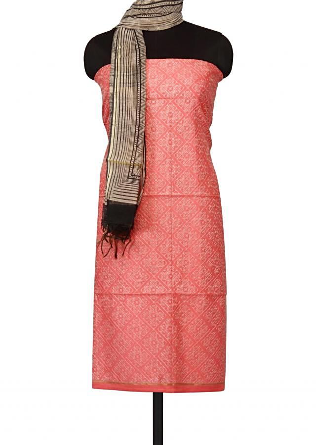 Coral peach unstitched suit in geometric thread work only on Kalki