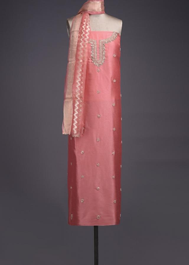 Coral Peach Unstitched Suit With Pearls, Zari And Thread Embroidered Floral Buttis Online - Kalki Fashion