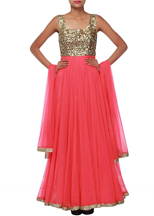 Coral pink anarkali suit adorn in sequin embroidery only on Kalki