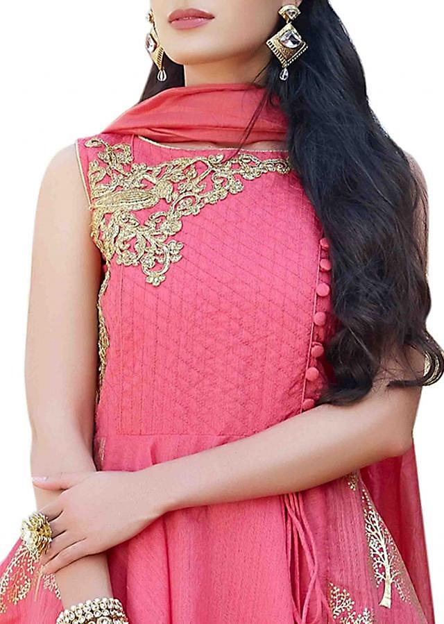 Coral pink anarkali suit with zari embroidered yoke