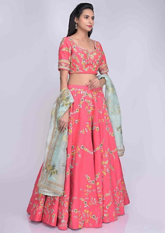 Coral pink raw silk lehenga set with mint green printed organza dupatta only on Kalki