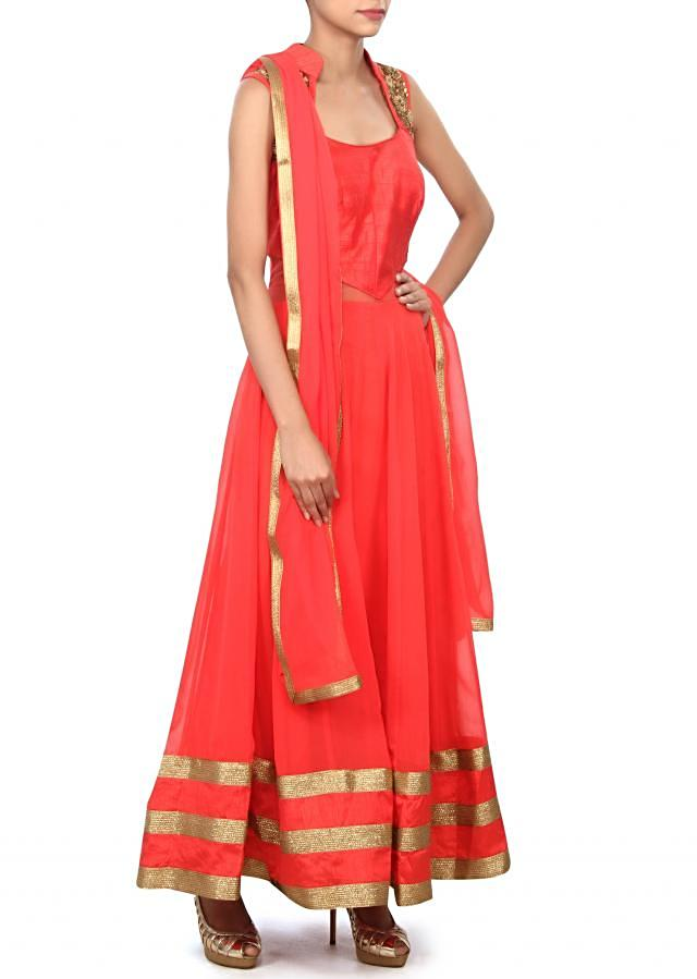 Coral red anarkali suit featuring in zardosi and sequin embroidery only on Kalki