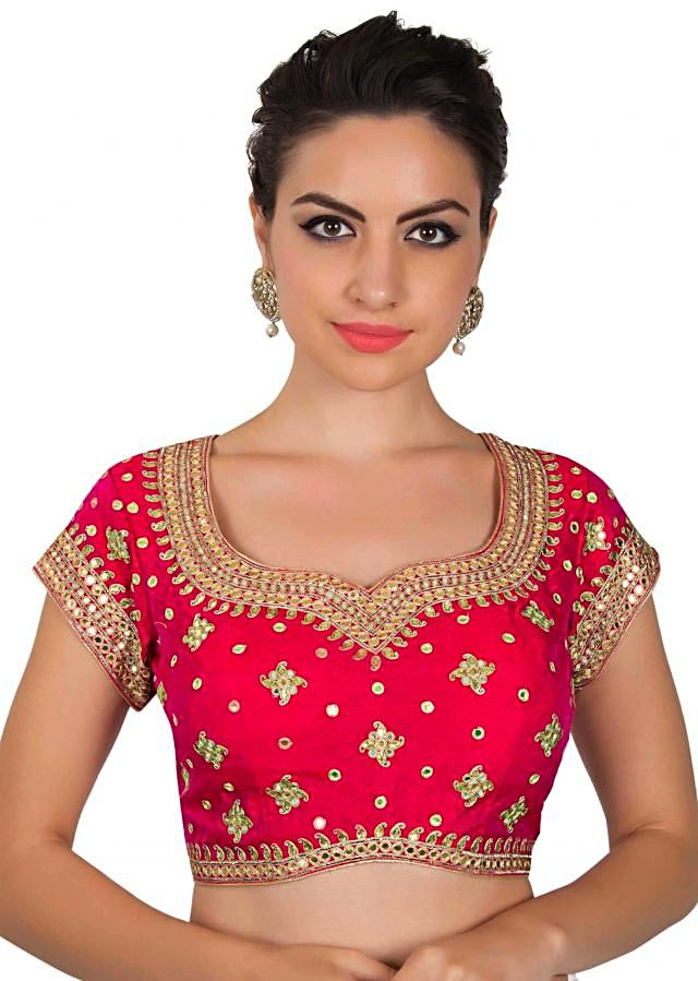 Coral red blouse in gotta patch embroidered blouse only on Kalki
