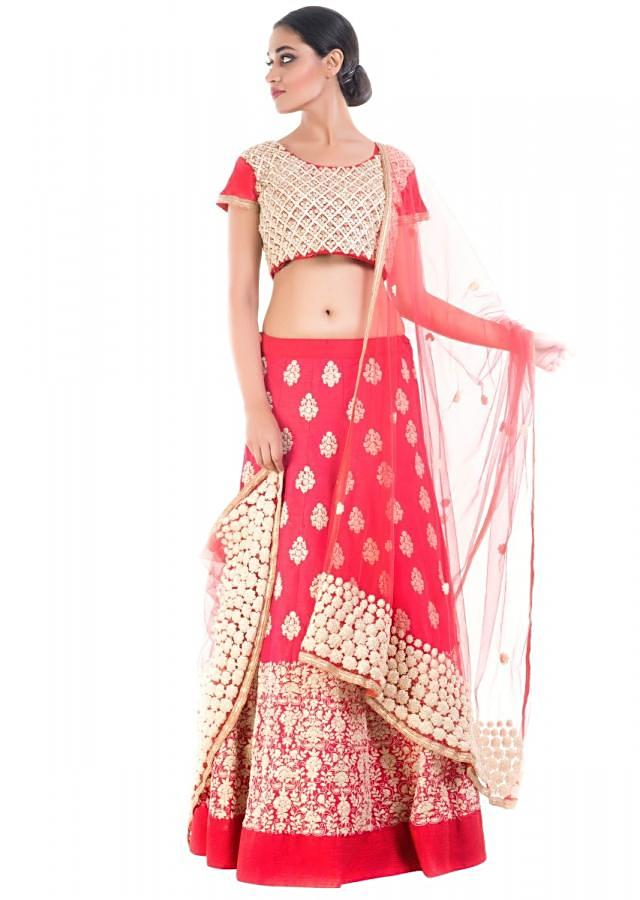 Coral Red Bridal Lehenga With Embroidery Work Online - Kalki Fashion