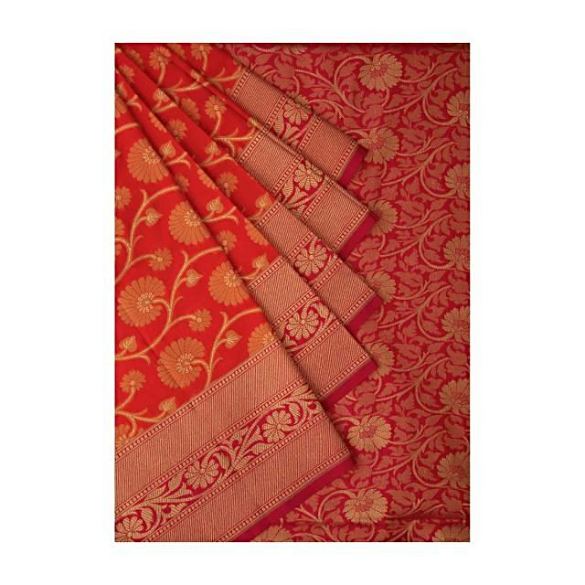 Coral Red Saree In Chanderi Silk With Floral Jaal Weave All Over Online - Kalki Fashion