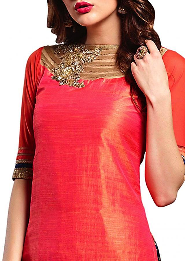 Coral red straight Patiala suit in sequin and resham embroidery
