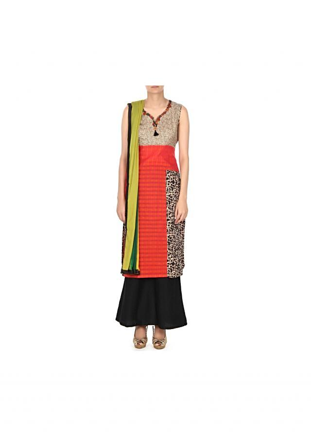 Coral straight suit in alphabetic print only on Kalki