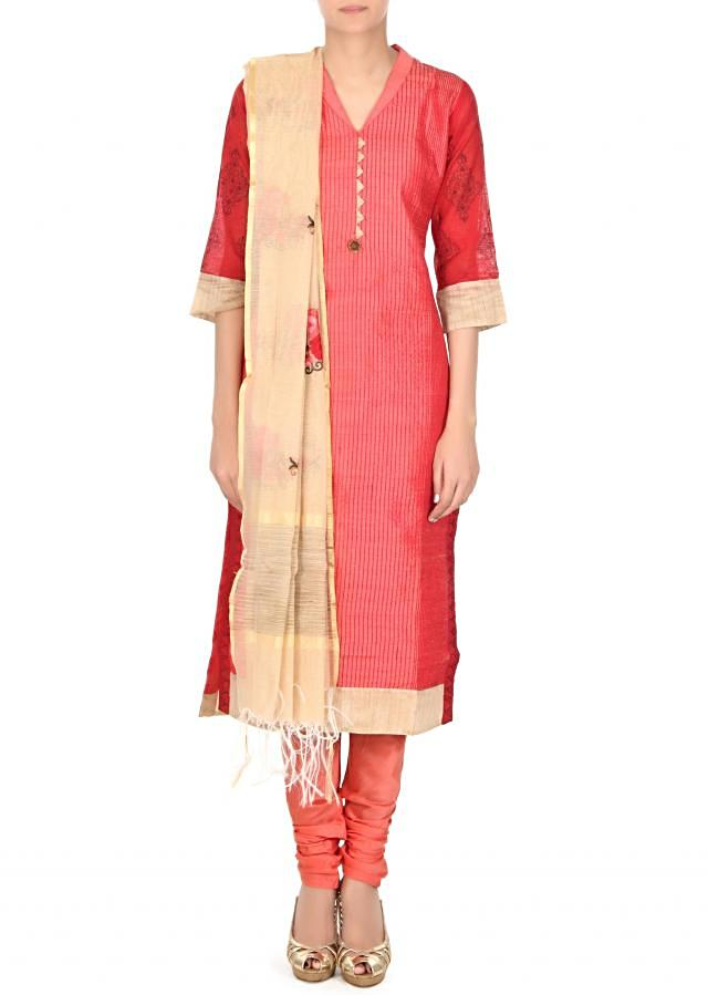 Coral straight suit in printed sleeve only on Kalki