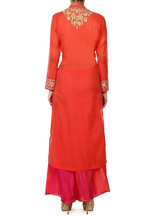 Coral straight suit in zari embroidery only on Kalki