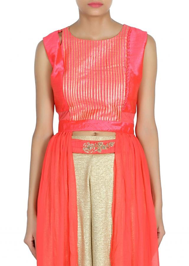 Coral suit adorn in embroidered placket only on Kalki