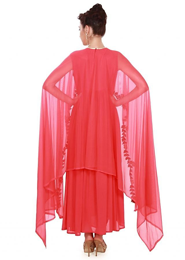 Coral suit adorn in thread and attach cape only on Kalki