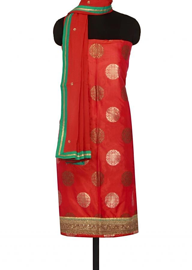 Coral unstitched suit adorn in zari and sequin only on Kalki