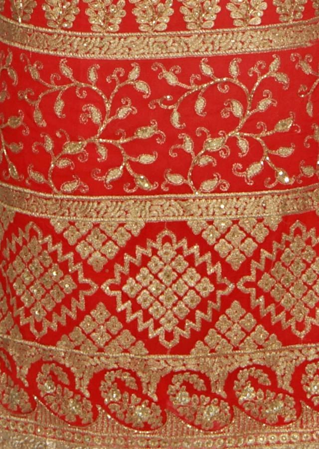 Coral unstitched suit adorn in zari embroidery only on Kalki