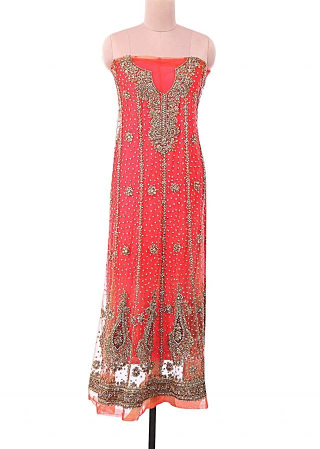 Coral unstitched suit embellished in zardosi and stone only on Kalki