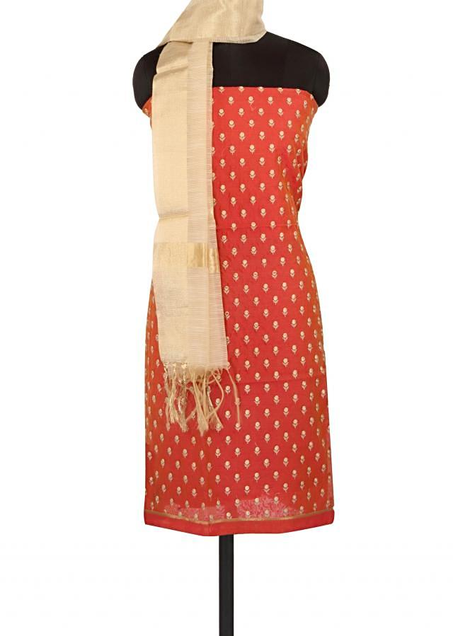 Coral unstitched suit in resham embroidered butti only on Kalki
