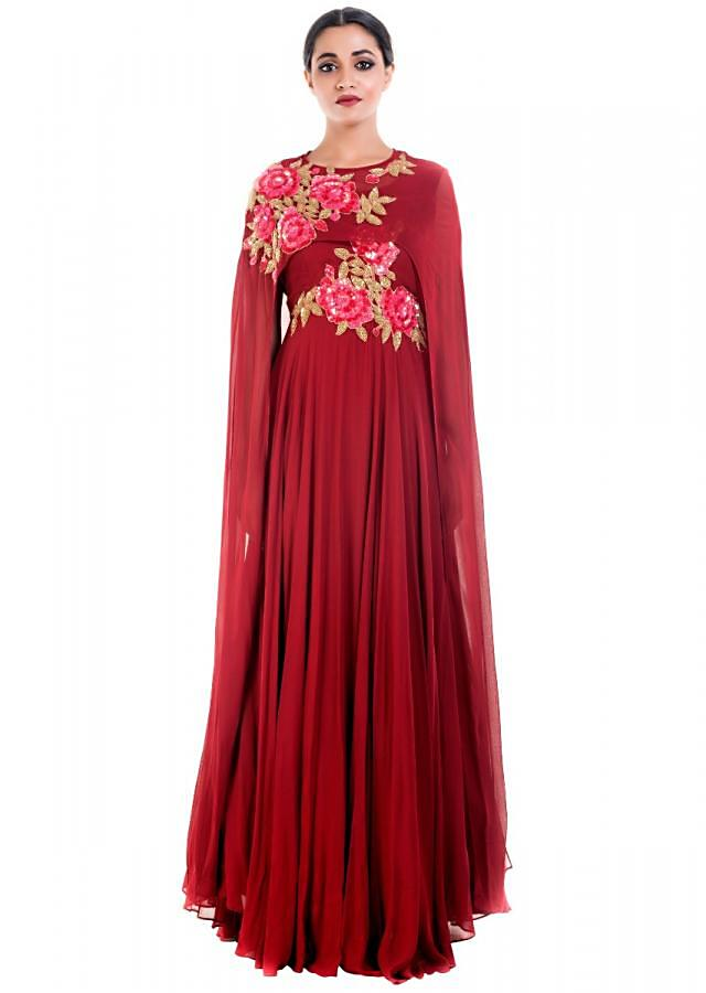 Coral Wine Cape Gown Online - Kalki Fashion