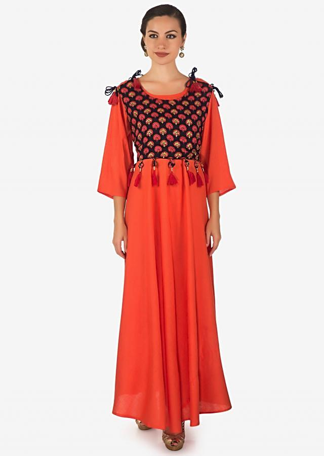 Coral long dress in cotton with navy blue printed top in fancy tassel only on Kalki