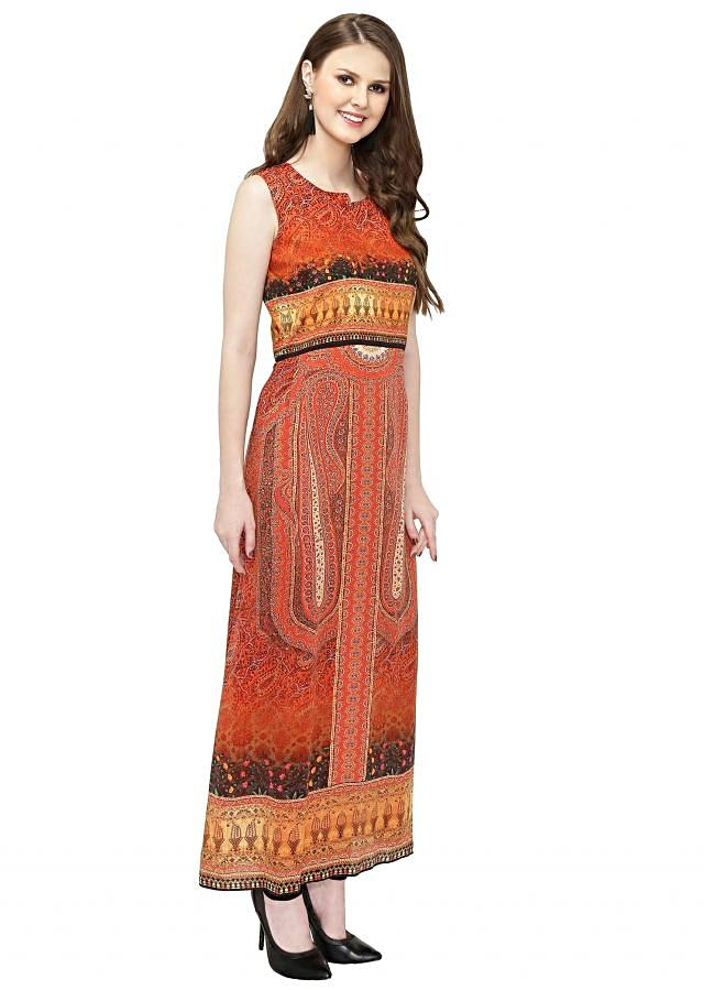 Coral and Orange Georgette Kurta with Digital Print only on Kalki