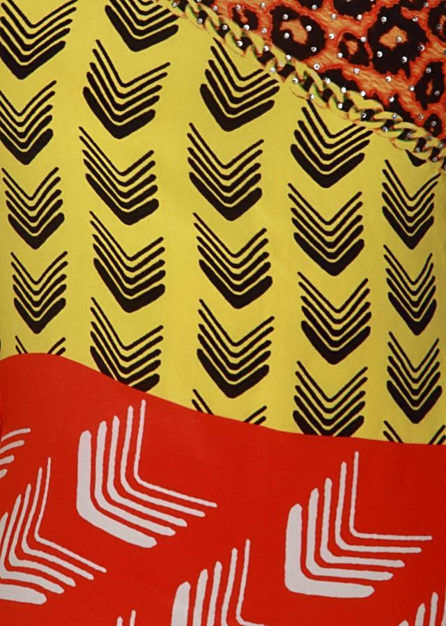 Coral and yellow kaftan embellished in digital print only on Kalki