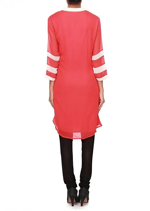 Coral kurti adorn in resham and sequin embroidery only on Kalki