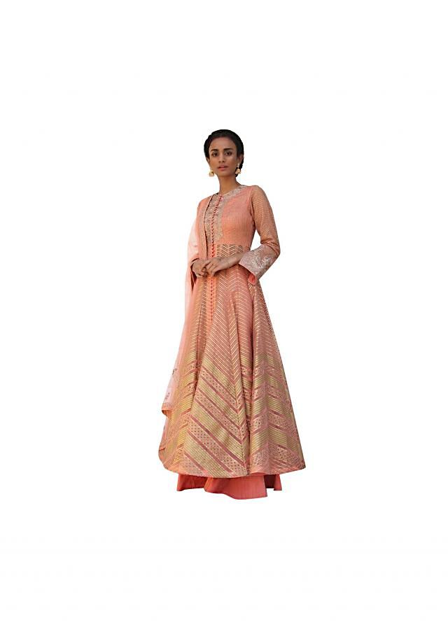 Coral pink anarkali suit in gotta embroidery