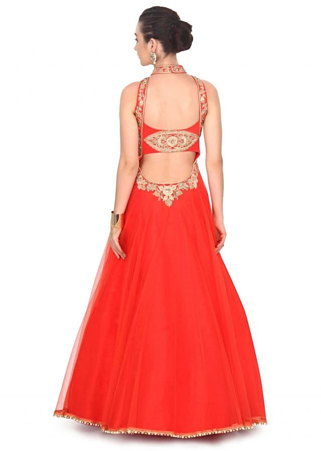 Coral red gown embellished in zardosi and kundan only on Kalki