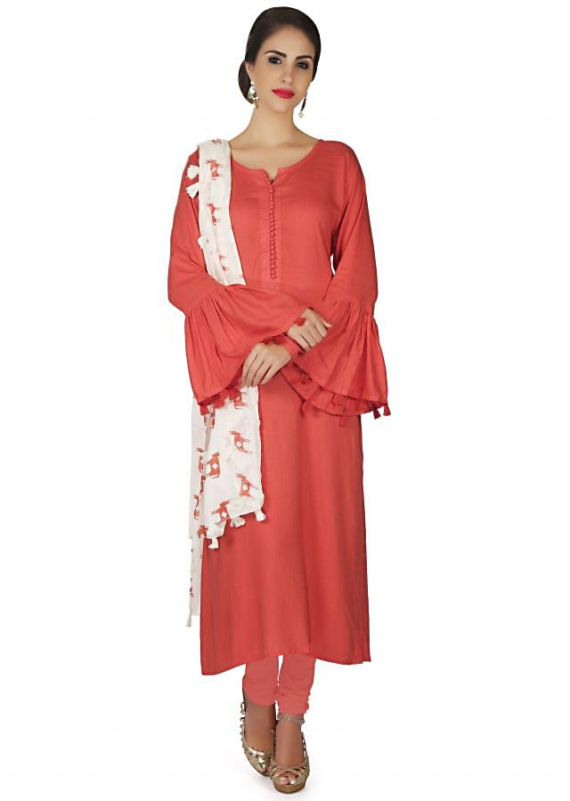 Coral suit in cotton silk with bell sleeve only on Kalki