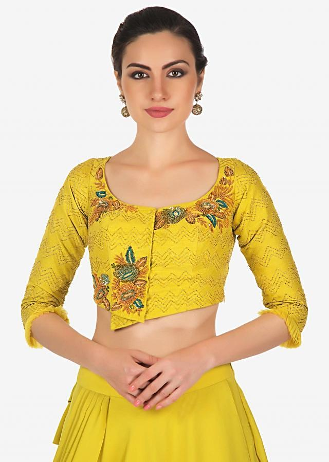 Corn mustard multi layer lehenga with raw silk blouse and pre stitch dupatta only on Kalki