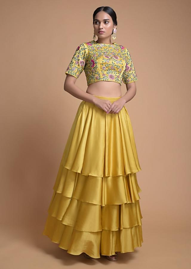 Corn Yellow Layered Lehenga And Crop Top With Floral Jaal Embroidery Online - Kalki Fashion