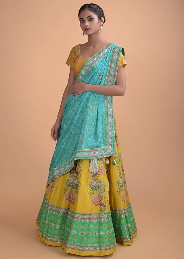 Corn Yellow Lehenga In Silk With Floral Print And Hand Embroidery Online - Kalki Fashion
